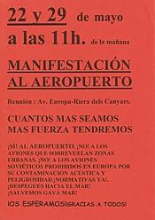 Cartell convocant les manifestacions del 22 i 29 de maig de 1999