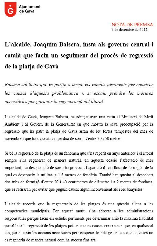 Noticias de gav mar a o 2011 p gina 1 de 85 for Trabajo en gava