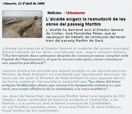 El alcalde de gav joaquim balsera exige que se reanude for Trabajo en gava